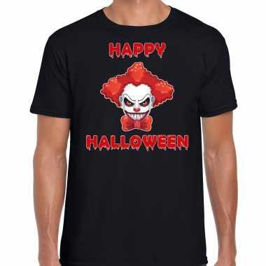 Happy halloween rode halloween clown verkleed t shirt zwart heren