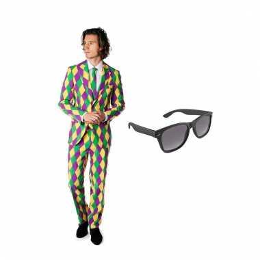 Harlekijn heren kostuum maat 54 (xxl) gratis zonnebril