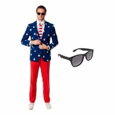 Heren kostuum amerikaanse vlag maat 52 (xl) gratis