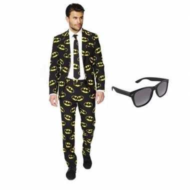 Heren kostuum batman maat 50 (l) gratis zonnebri