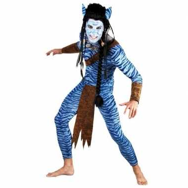Heren kostuum Blauwe jungle strijder
