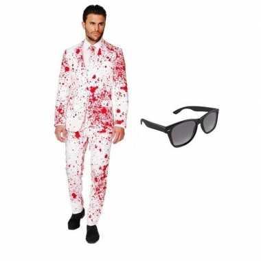 Heren kostuum bloed maat 50 (l) gratis zonnebri