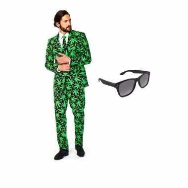 Heren kostuum cannabis maat 48 (m) gratis zonnebri