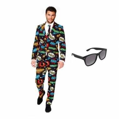 Heren kostuum comic maat 46 (s) gratis zonnebri