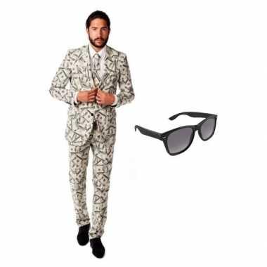 Heren kostuum dollar maat 54 (2xl) gratis zonnebri