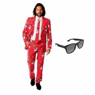 Heren kostuum kerst maat 52 (xl) gratis zonnebril