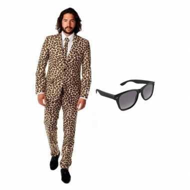 Heren kostuum luipaard maat 50 (l) gratis zonnebri