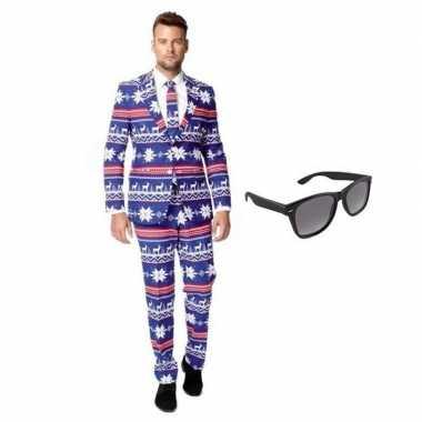 Heren kostuum rendier maat 50 (l) gratis zonnebri