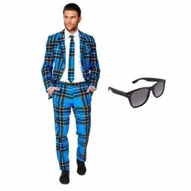 Heren kostuum schotse maat 56 (3xl) gratis zonnebr