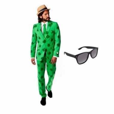 Heren kostuum sint patricks day maat 56 (3xl) gratis zonnebr