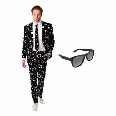 Heren kostuum sterren maat 54 (2xl) gratis zonnebr