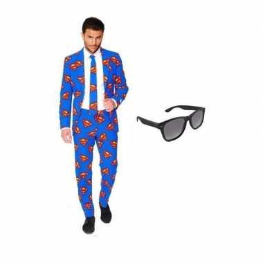 Heren kostuum superman maat 50 (l) gratis zonnebri