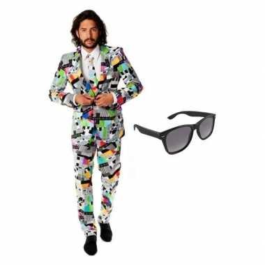 Heren kostuum televisie maat 50 (l) gratis zonnebr