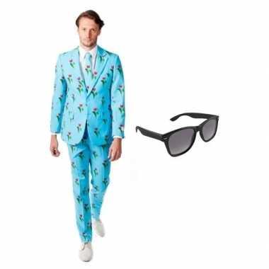 Heren kostuum tulpen maat 54 (2xl) gratis zonnebri