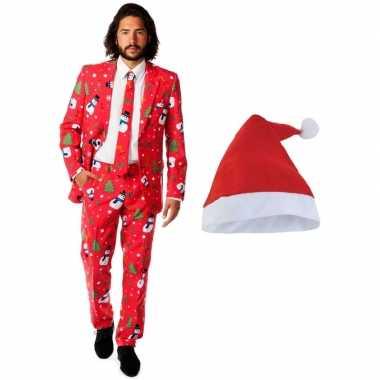 Heren opposuits kerst kostuum rood kerstmuts maat 48 (m)