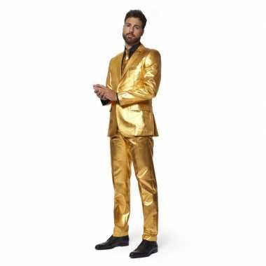 Heren verkleed pak/kostuum metallic goud stropdas