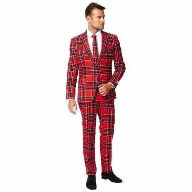 Heren verkleed pak/kostuum rode schotse