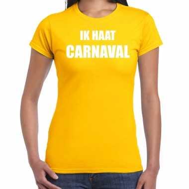 Ik haat carnaval verkleed t shirt / kostuum geel dames