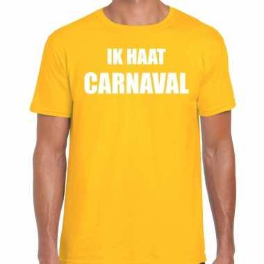 Ik haat carnaval verkleed t shirt / kostuum geel heren