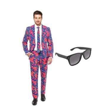 Jaren 90 heren kostuum maat 48 (m) gratis zonnebril