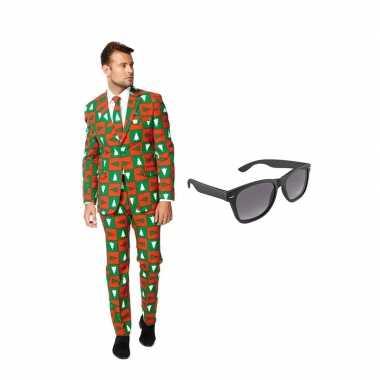 Kerst heren kostuum maat 54 (xxl) gratis zonnebril