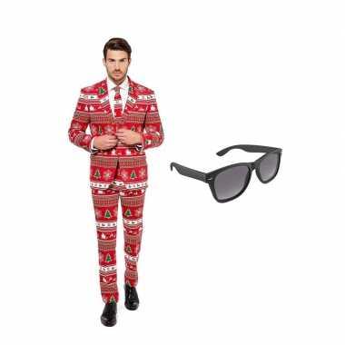 Kerstboom heren kostuum maat 52 (xl) gratis zonnebril