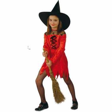 Kinderen kostuum rode heksenjurk
