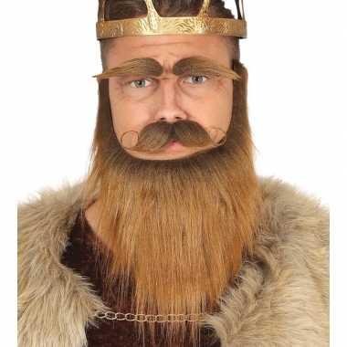 Koning baard kostuum snor wenkbrauwen bruin
