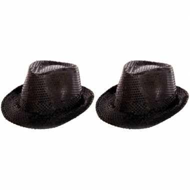 Kostuum 2 zwarte trilby glitter party hoedjes pailletten