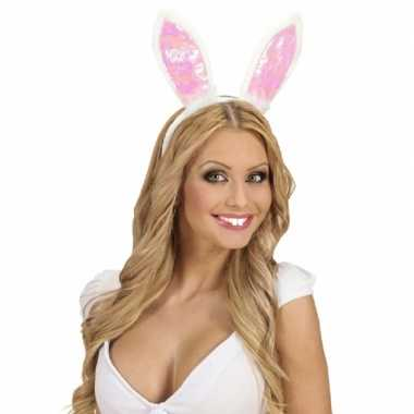 Kostuum 2x stuks konijnen/paashaas verkleed tanden/tandjes