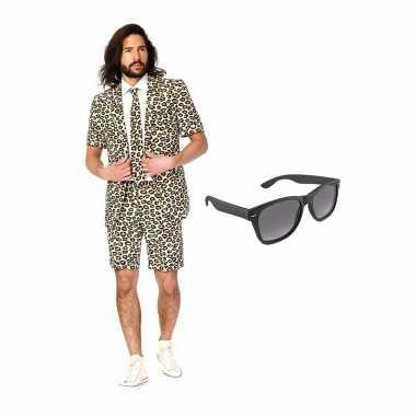 Luipaard zomer kostuum maat 52 (xl) gratis zonnebril