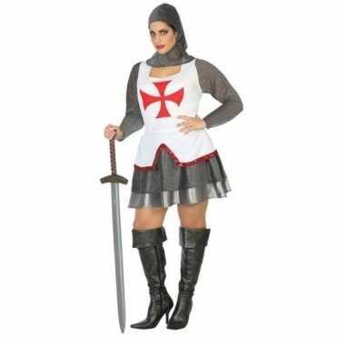 Middeleeuwse ridder verkleed kostuum/jurk wit/rood dames