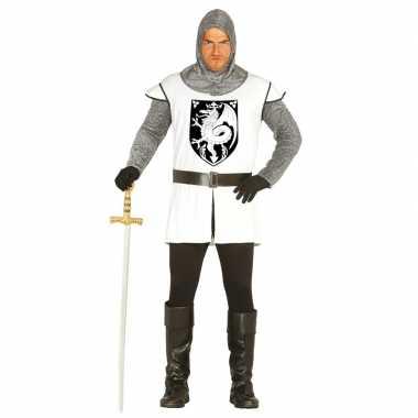 Middeleeuwse ridder verkleed kostuum wit heren