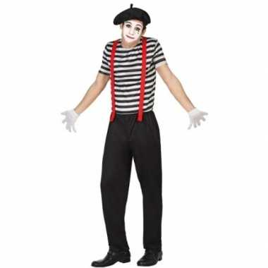 Mime clowns heren kostuum
