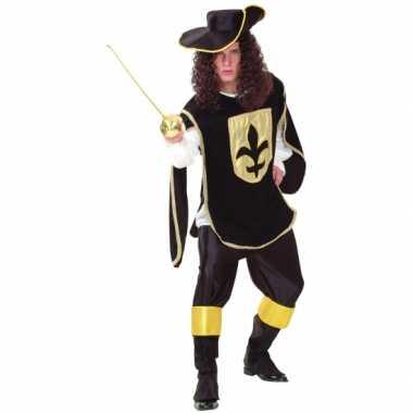 Musketier kostuum zwart goud