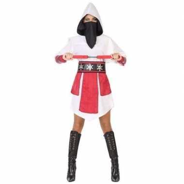 Ninja vechter verkleed jurk/kostuum wit/rood dames