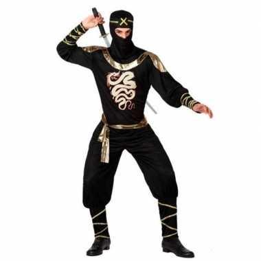 Ninja vechter verkleed kostuum zwart/goud heren