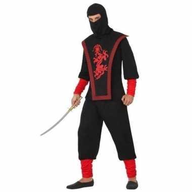 Ninja vechter verkleed kostuum zwart/rood heren