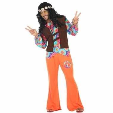 Oranje/bruin hippie/flower power kostuum heren