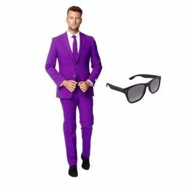 Paars heren kostuum maat 48 (m) gratis zonnebril