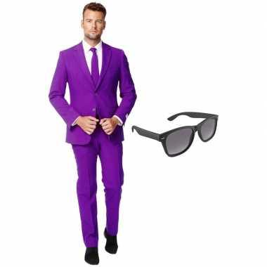 Paars heren kostuum maat 54 (xxl) gratis zonnebril
