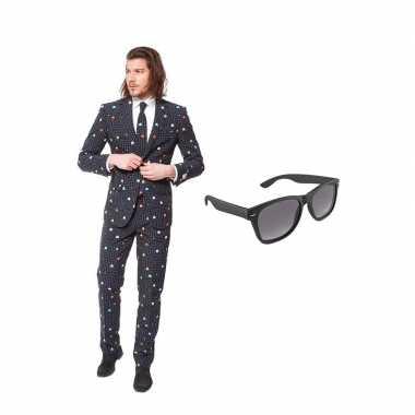 Pac man heren kostuum maat 50 (l) gratis zonnebril