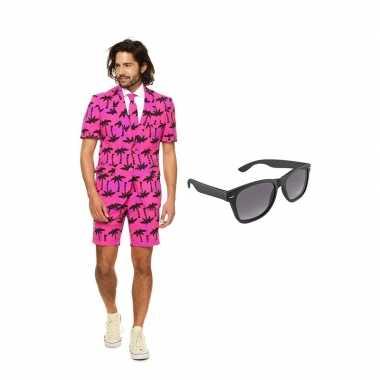 Palmbomen zomer heren kostuum maat 48 (m) gratis zonnebril
