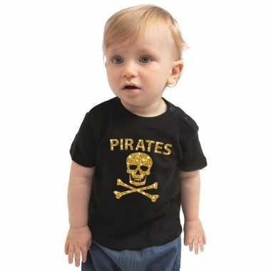Piraten kostuum shirt goud glitter zwart babys