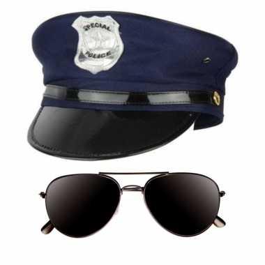 Politie agent verkleed kostuumje pet donkere zonnebril