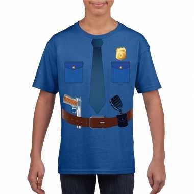 Politie uniform kostuum t shirt blauw kinderen