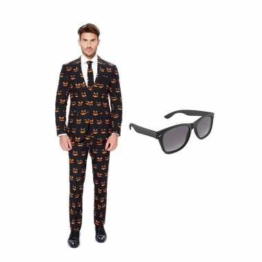 Pompoen heren kostuum maat 48 (m) gratis zonnebril