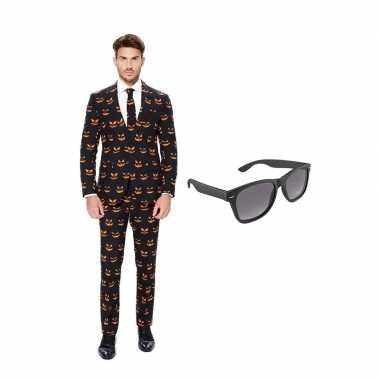 Pompoen heren kostuum maat 52 (xl) gratis zonnebril