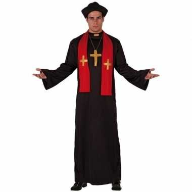 Priester kostuum zwart/rood volwassenen