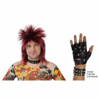 Punk verkleed kostuum lederlook 5 delig